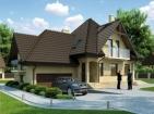 Проект красивого одноэтажного дома с гаражом и мансардой